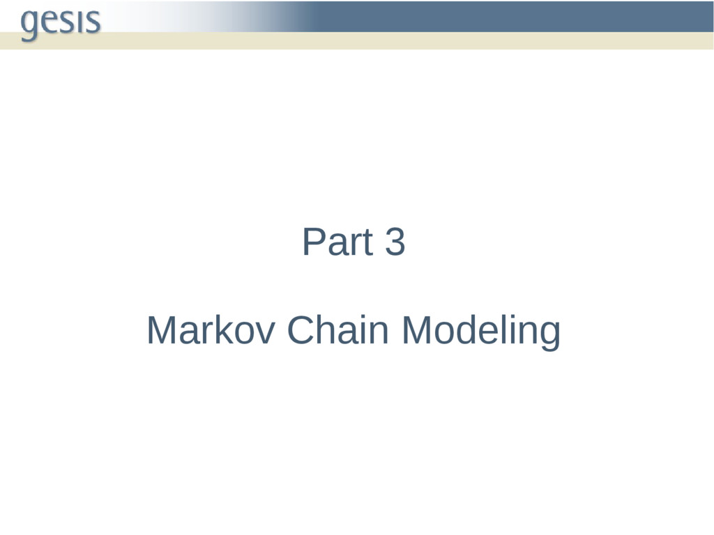Part 3 Markov Chain Modeling