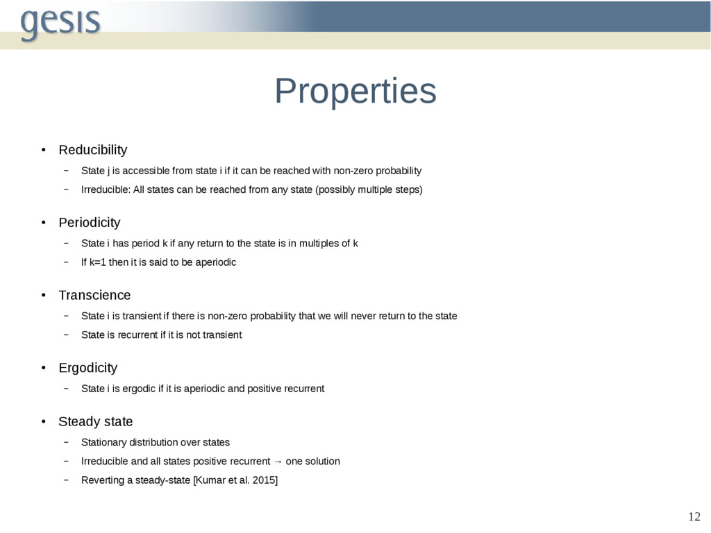 12 Properties ● Reducibility – State j is acces...