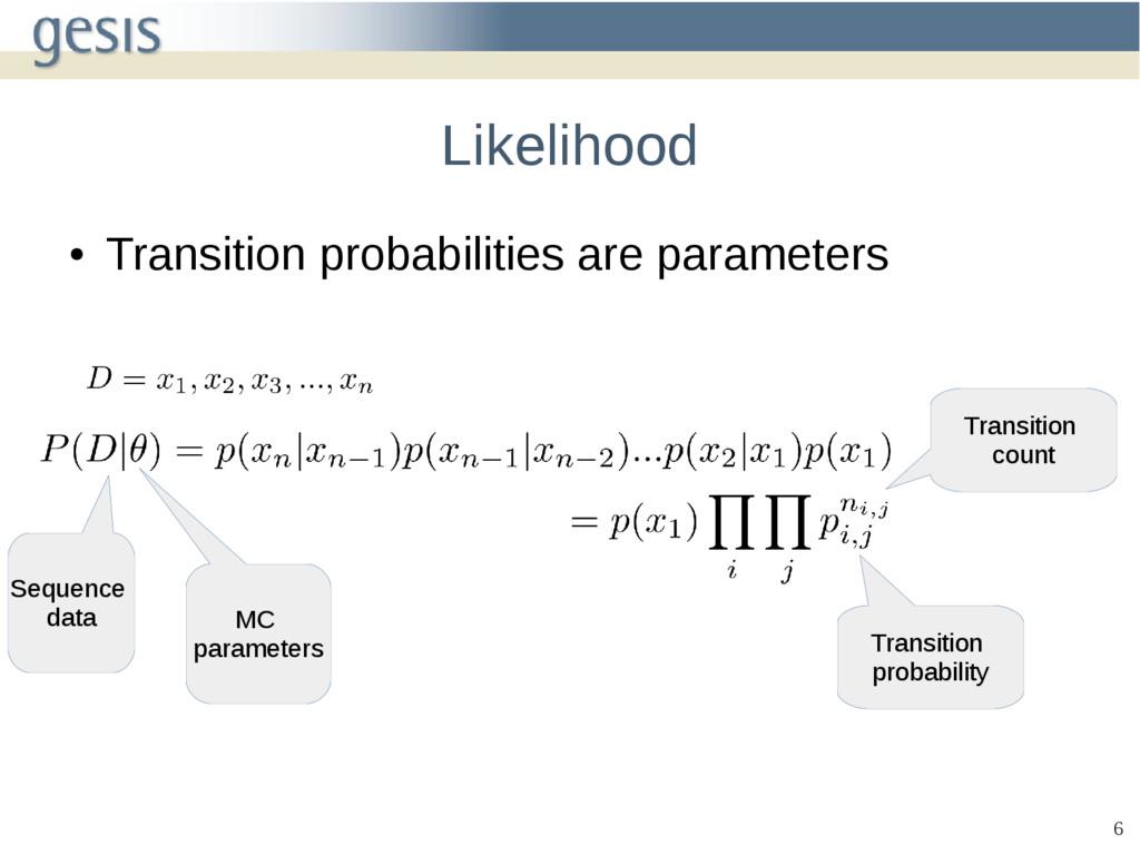 6 Likelihood ● Transition probabilities are par...