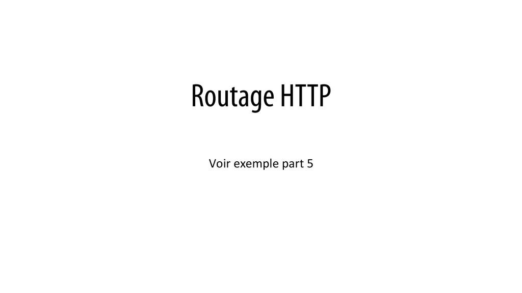 Routage HTTP Voir exemple part 5