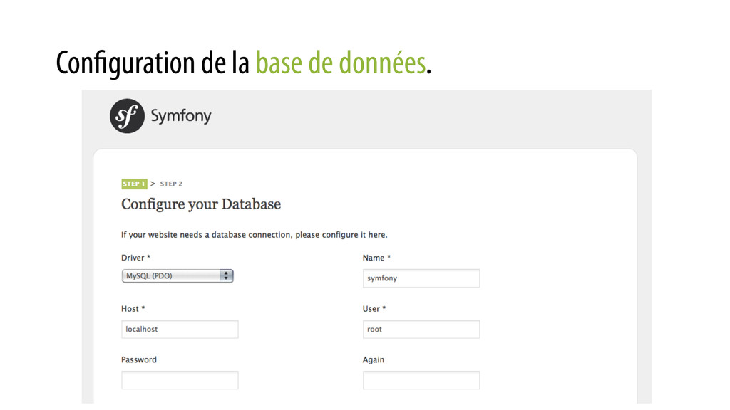 Configuration de la base de données.