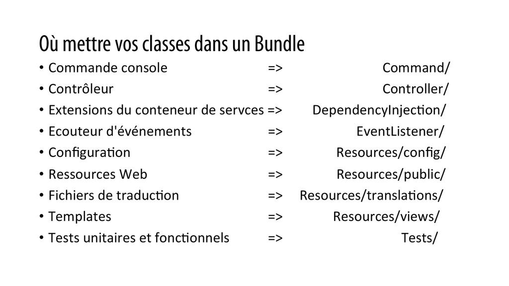 Où mettre vos classes dans un Bundle • Command...