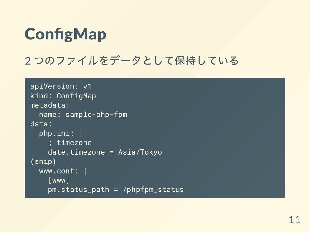 Con gMap 2 つのファイルをデータとして保持している apiVersion: v1 k...