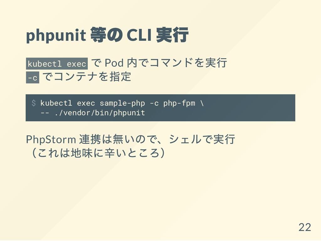phpunit 等の CLI 実行 kubectl exec で Pod 内でコマンドを実行 ...