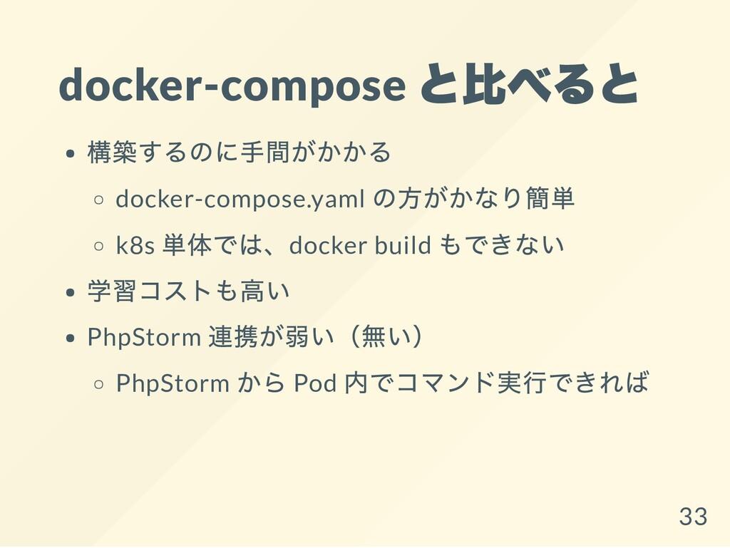 docker-compose と比べると 構築するのに手間がかかる docker-compos...
