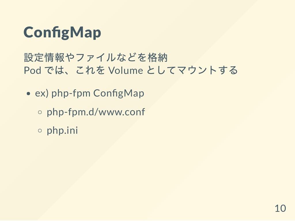 Con gMap 設定情報やファイルなどを格納 Pod では、これを Volume としてマウ...