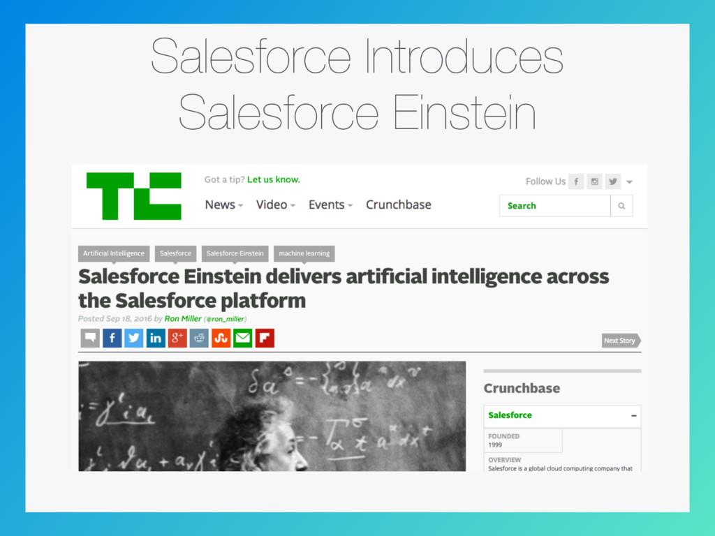 Salesforce Introduces Salesforce Einstein