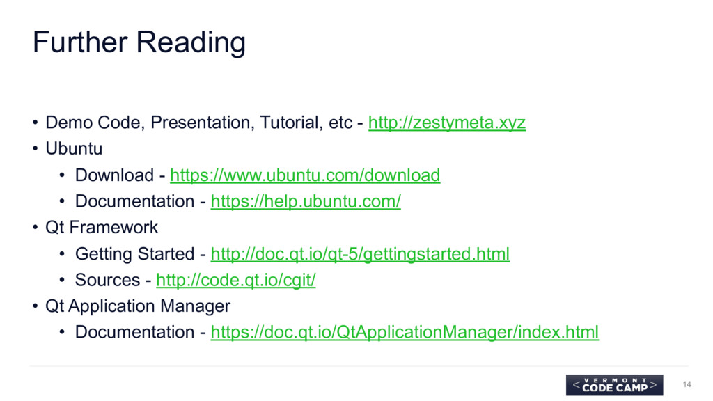 Further Reading • Demo Code, Presentation, Tuto...