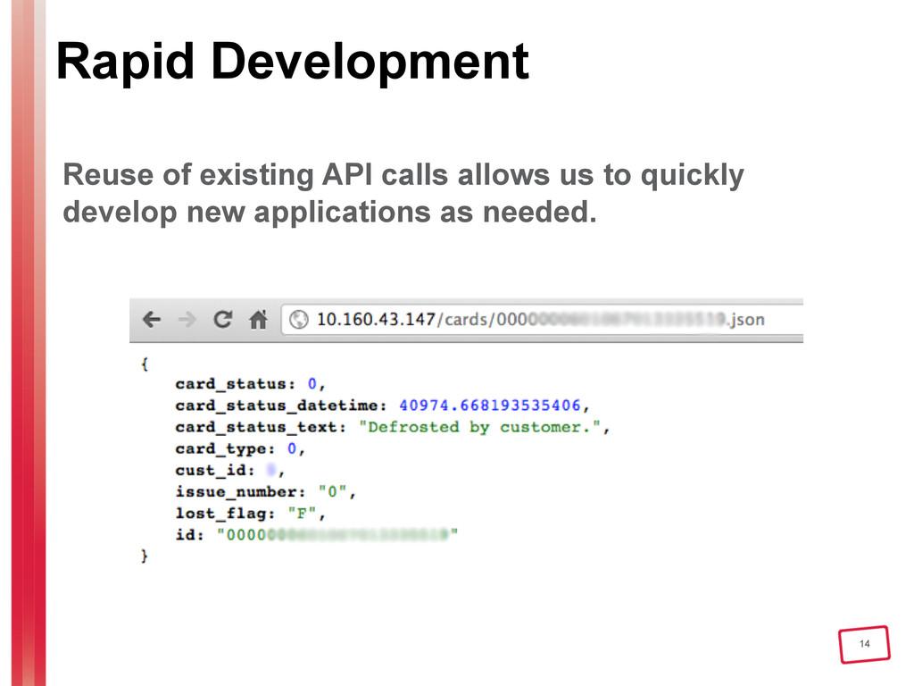 14 Rapid Development Reuse of existing API call...