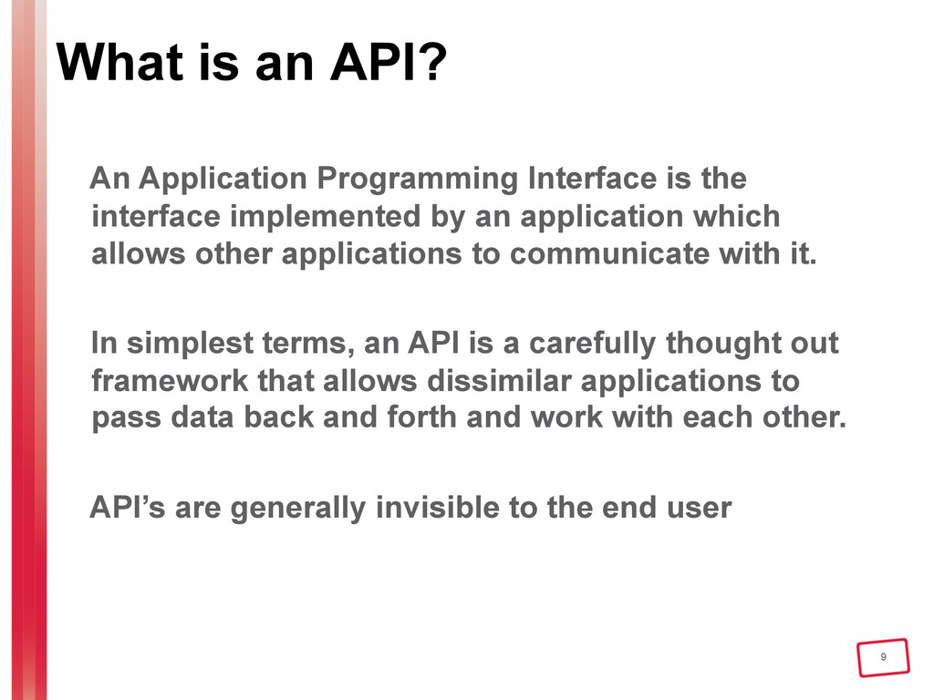 9 What is an API? An Application Programming In...