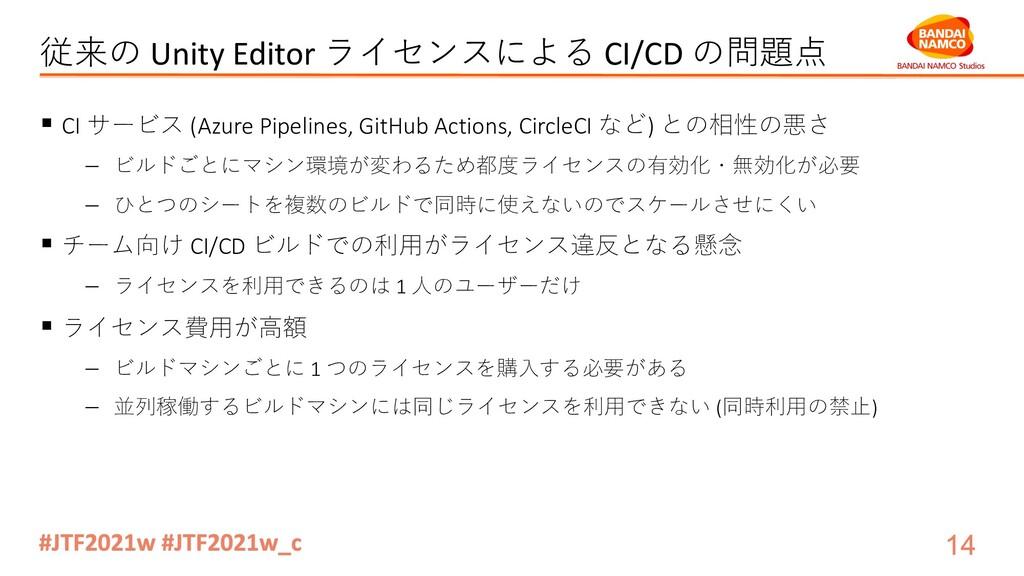 従来の Unity Editor ライセンスによる CI/CD の問題点 § CI サービス ...