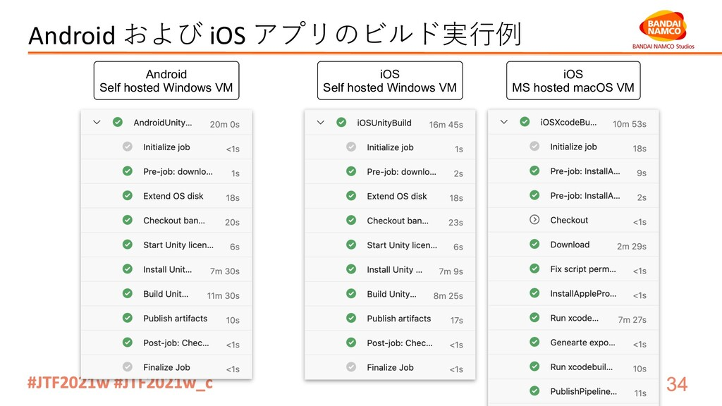 Android および iOS アプリのビルド実⾏例 Android Self hosted ...