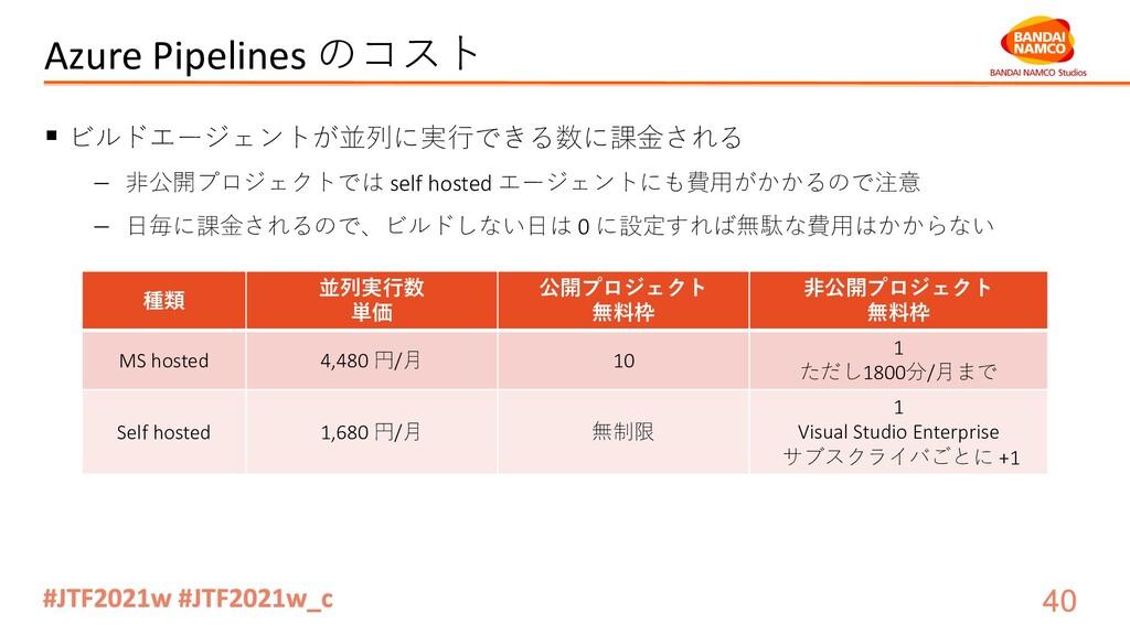 Azure Pipelines のコスト § ビルドエージェントが並列に実⾏できる数に課⾦され...