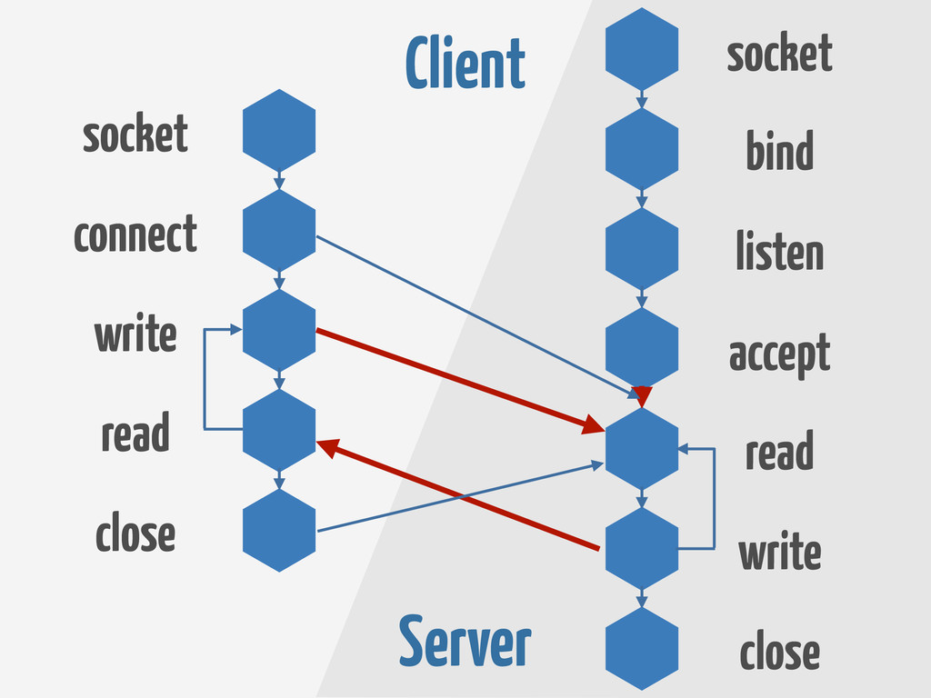 Client Server socket connect write read close c...