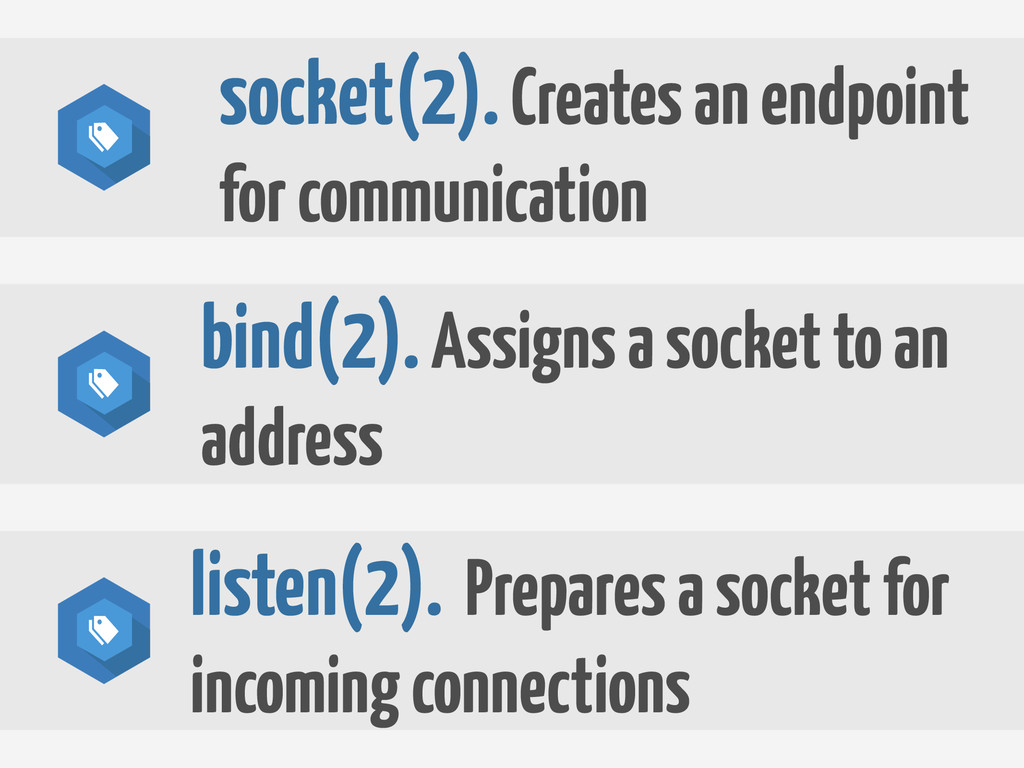 socket(2). Creates an endpoint for communicatio...