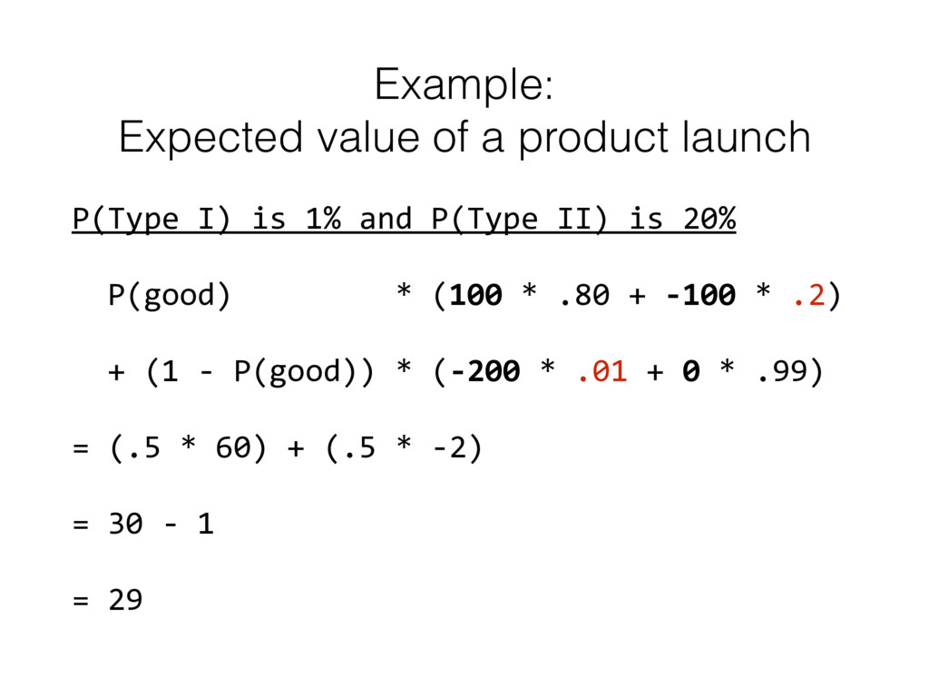 Example:  Expected value of a product launch P...