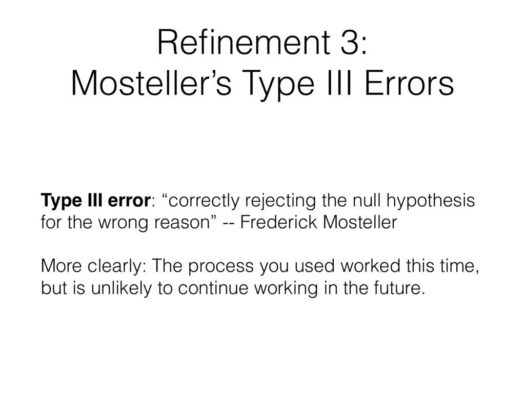 Refinement 3: Mosteller's Type III Errors  Type...