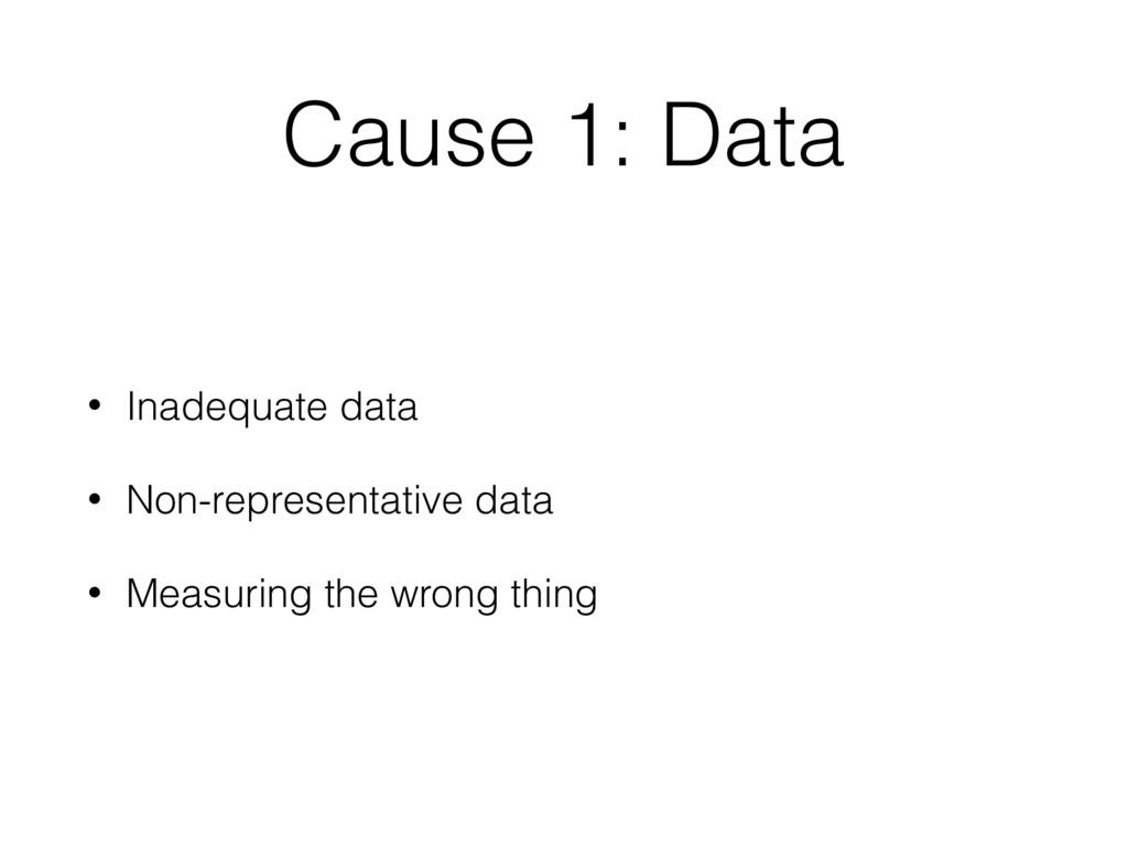 Cause 1: Data • Inadequate data • Non-represent...
