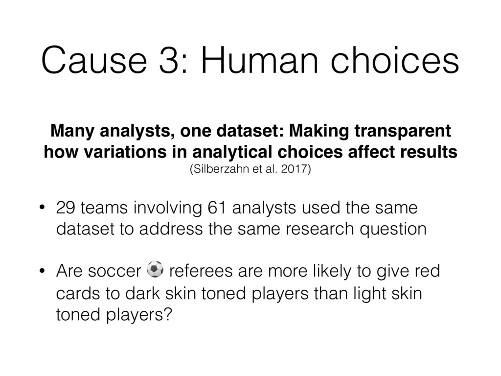 Cause 3: Human choices Many analysts, one datas...