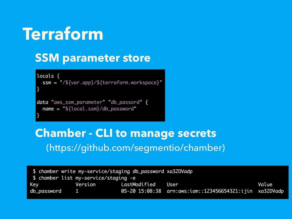 Terraform SSM parameter store Chamber - CLI to ...