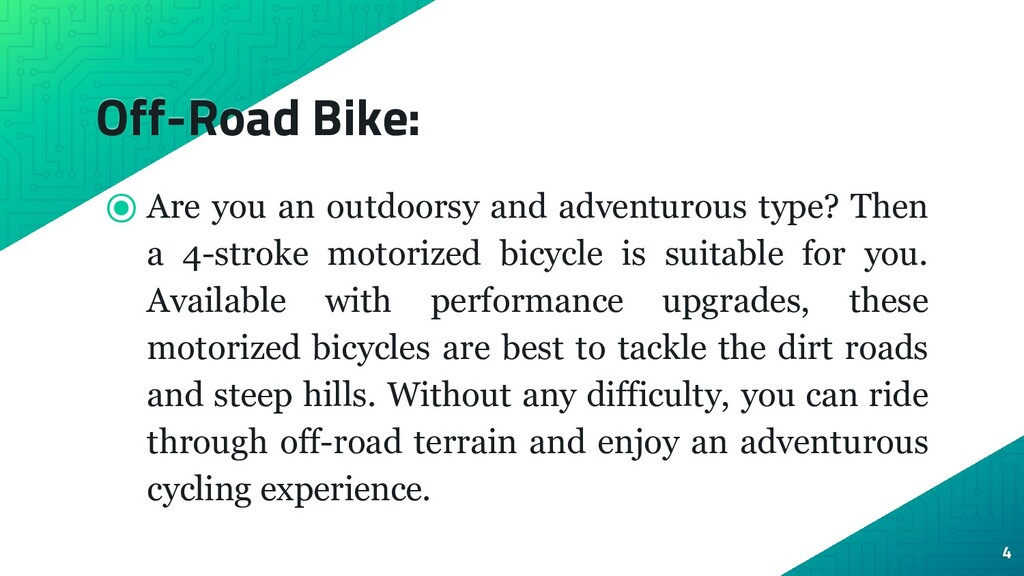 Off-Road Bike: ⦿ Are you an outdoorsy and adven...