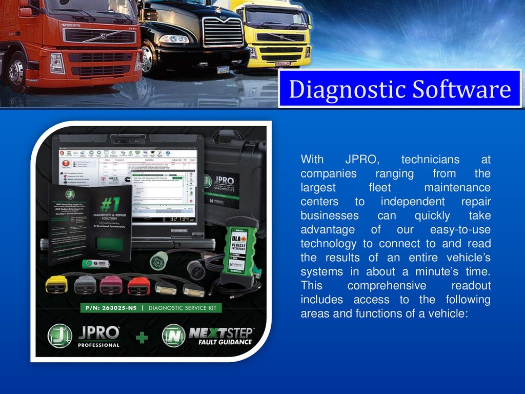 Diagnostic Software With JPRO, technicians at c...