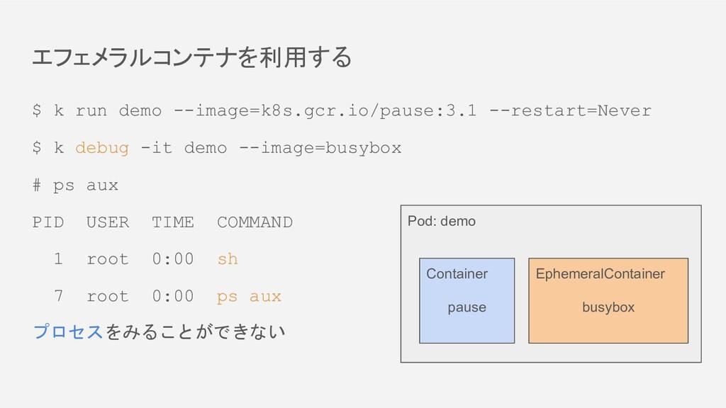 エフェメラルコンテナを利用する $ k run demo --image=k8s.gcr.io...