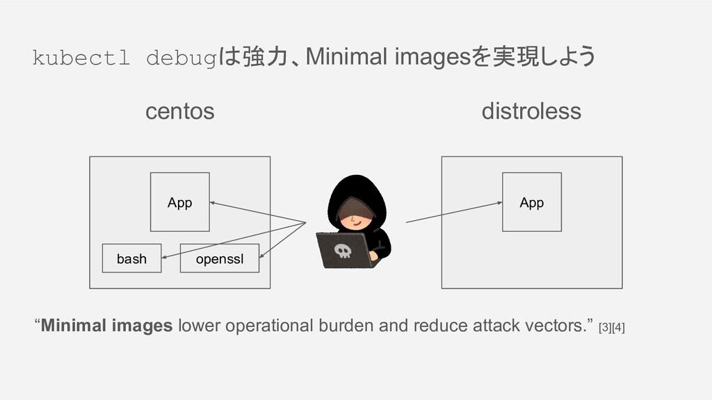kubectl debugは強力、Minimal imagesを実現しよう centos di...