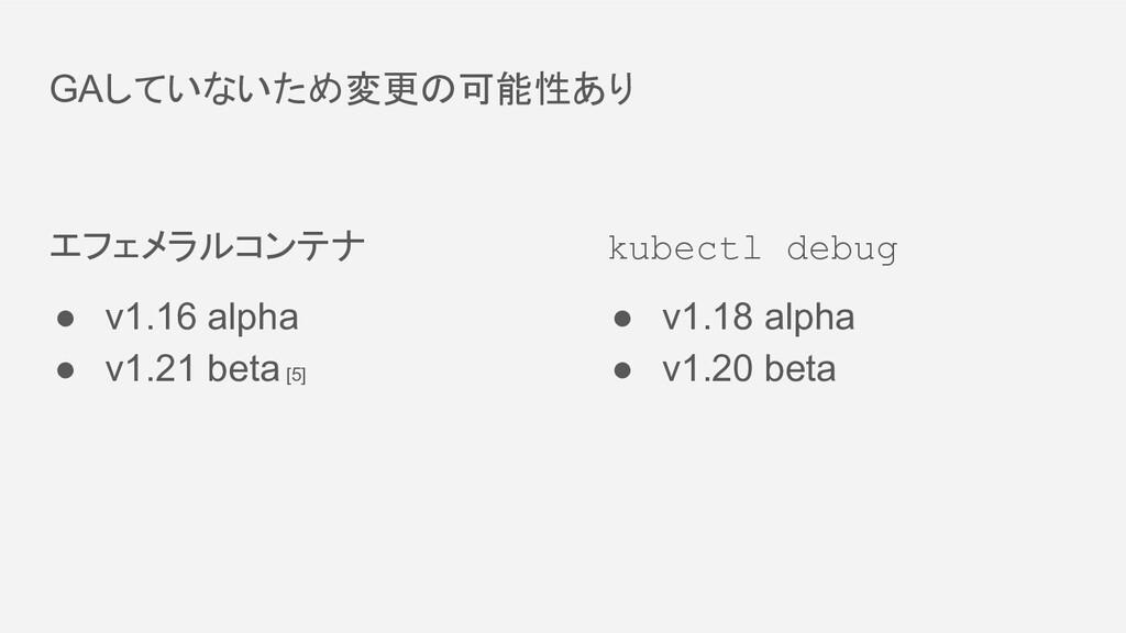 GAしていないため変更の可能性あり エフェメラルコンテナ ● v1.16 alpha ● v1...