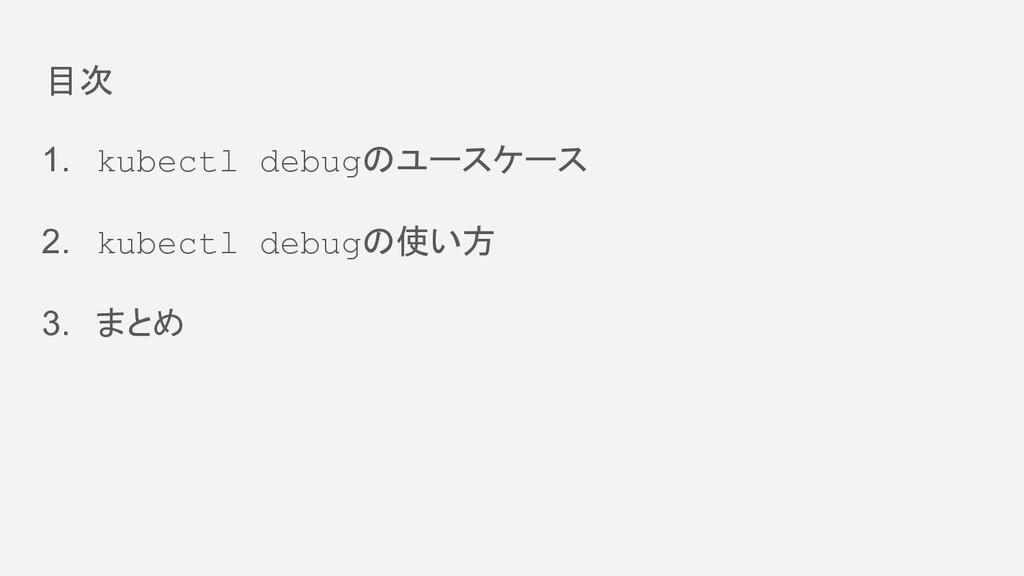 目次 1. kubectl debugのユースケース 2. kubectl debugの使い方...