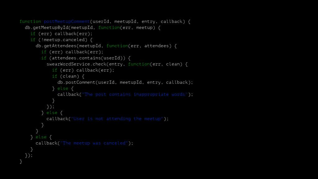 function postMeetupComment(userId, meetupId, en...