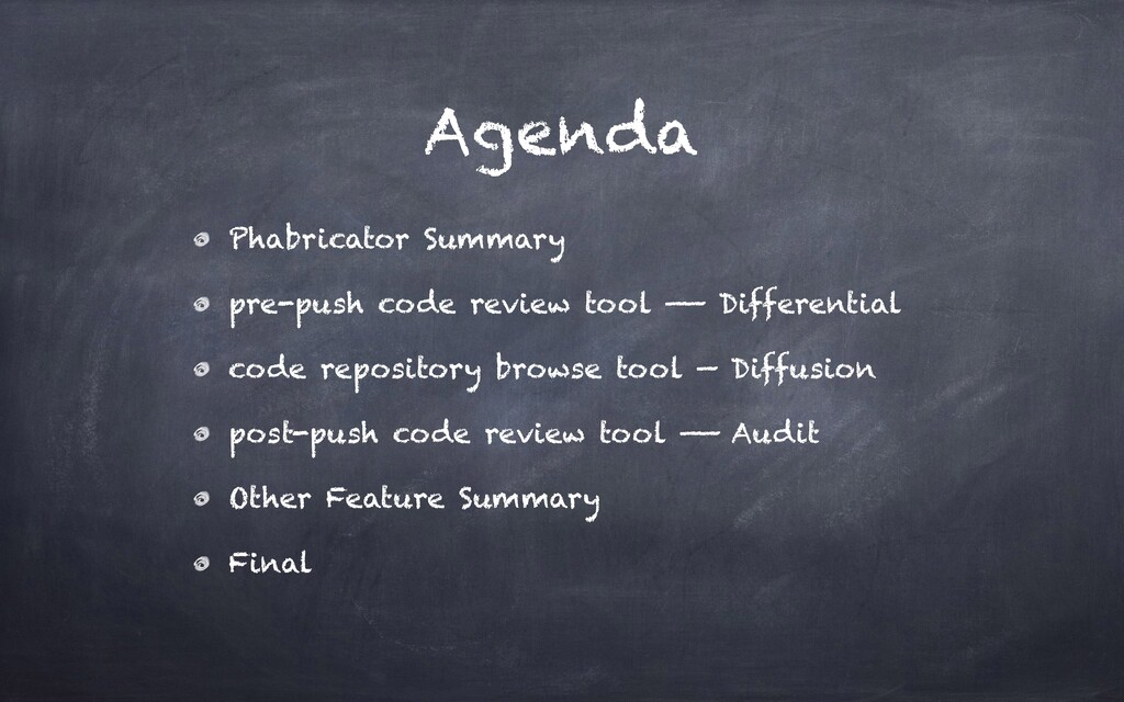 Agenda Phabricator Summary pre-push code review...
