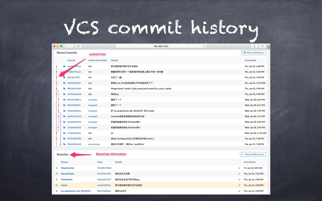VCS commit history