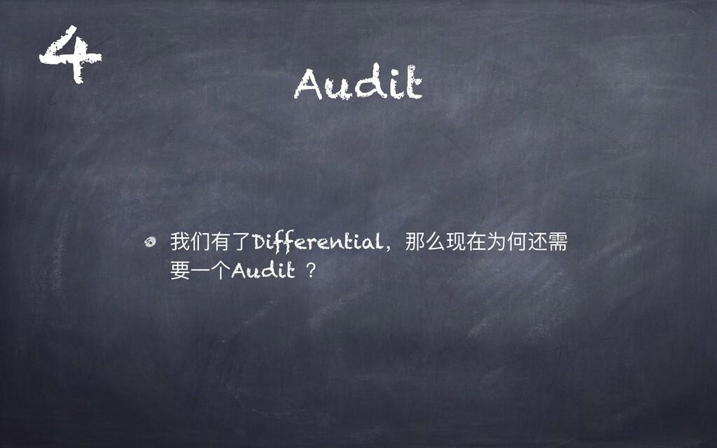 Audit 我们有了Differential,那么现在为何还需 要⼀个Audit ? 4