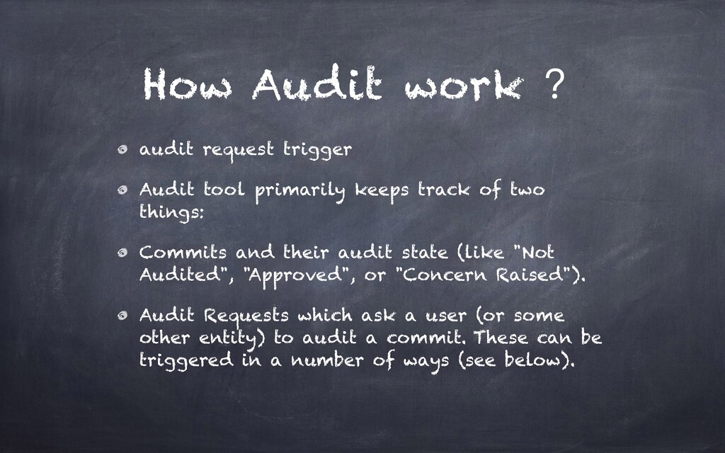 How Audit work ? audit request trigger Audit to...