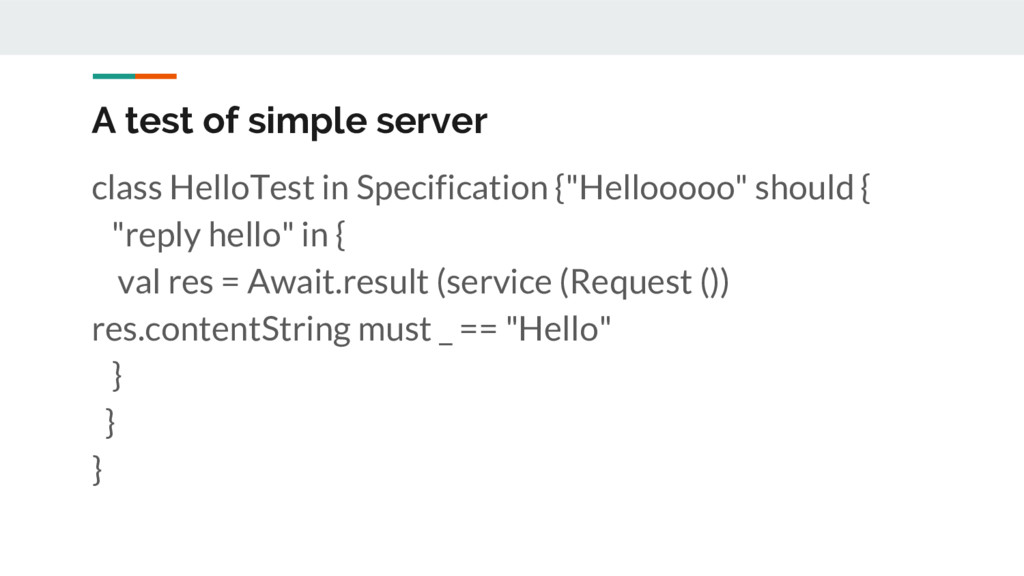 A test of simple server class HelloTest in Spec...