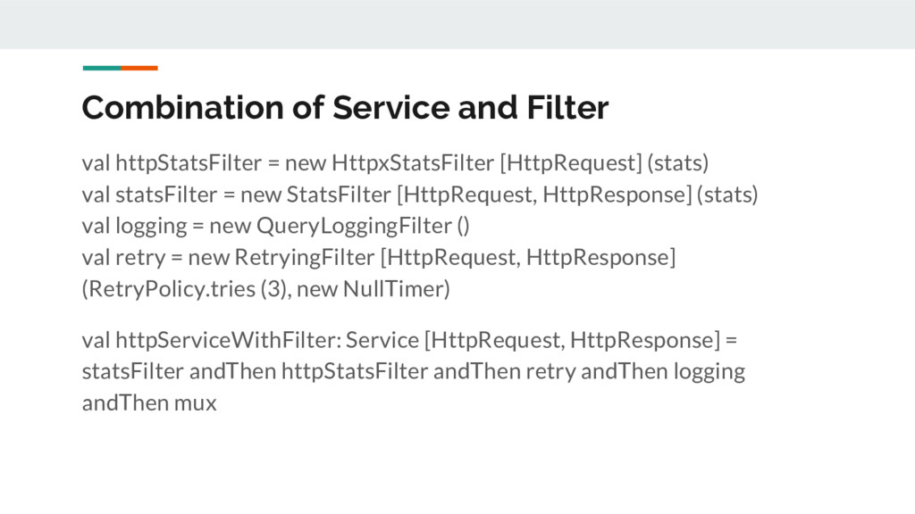 Combination of Service and Filter val httpStats...