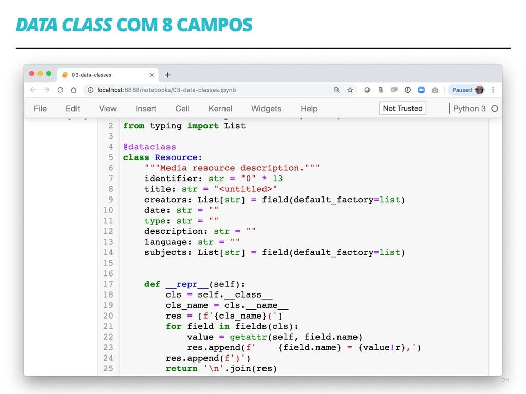 DATA CLASS COM 8 CAMPOS 24