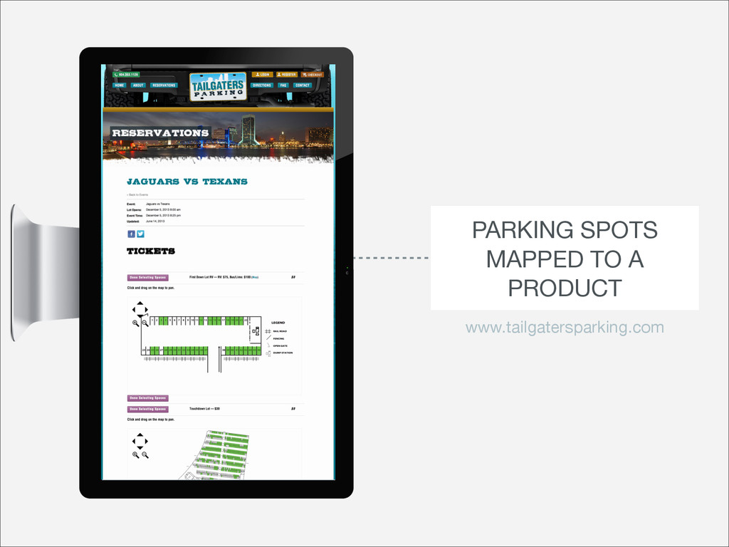 PARKING SPOTS MAPPED TO A PRODUCT www.tailgater...