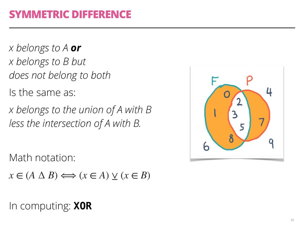 SYMMETRIC DIFFERENCE x belongs to A or
