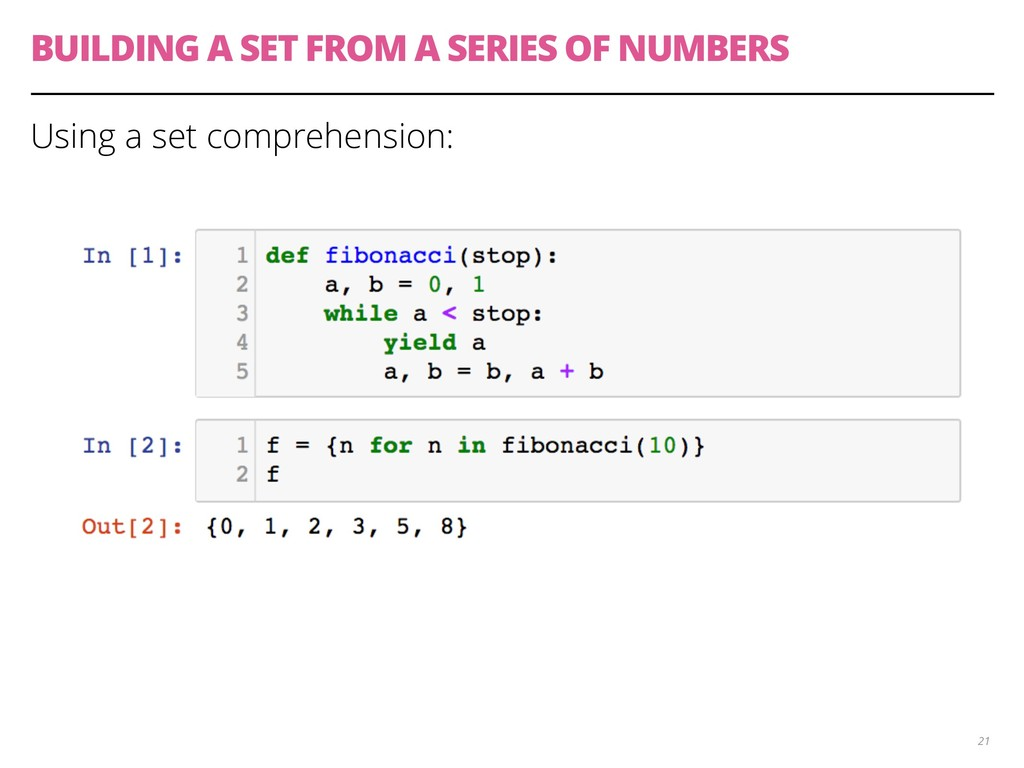 BUILDING A SET FROM A SERIES OF NUMBERS Using a...