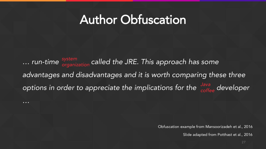 Author Obfuscation 27 Obfuscation example from ...