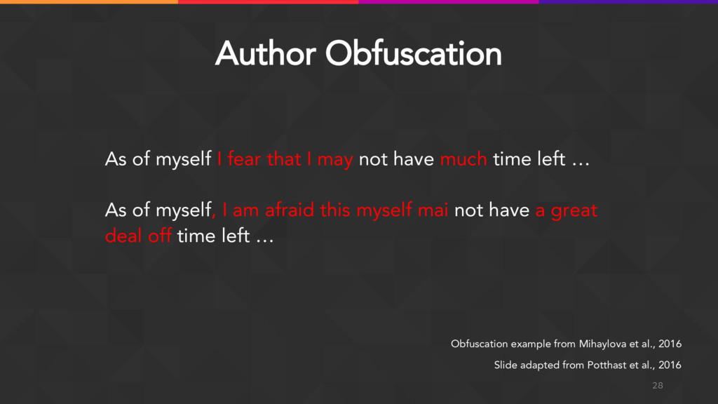 Author Obfuscation 28 Obfuscation example from ...
