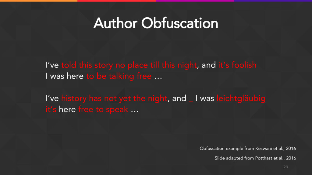 Author Obfuscation 29 I've told this story no p...