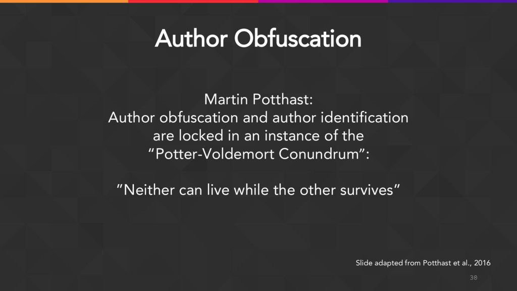 30 Martin Potthast: Author obfuscation and auth...