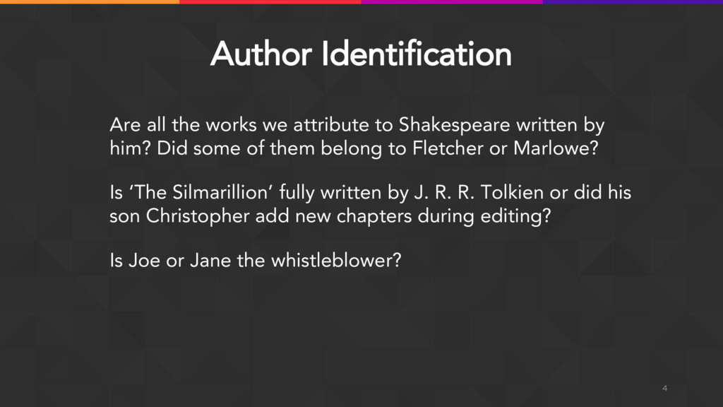 Author Identification Are all the works we attr...