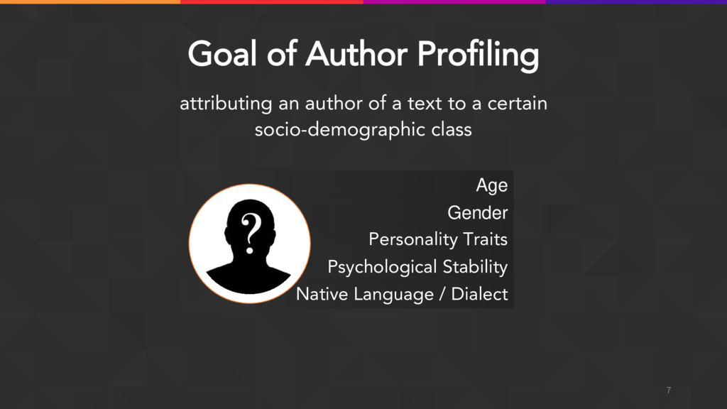 Goal of Author Profiling attributing an author ...