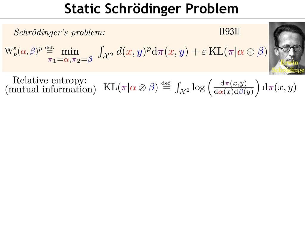 Static Schrödinger Problem Schr¨ odinger's prob...