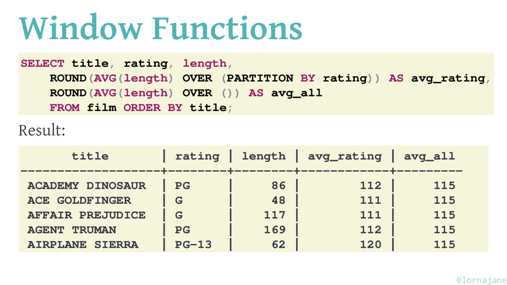 Window Functions SELECT title, rating, length, ...