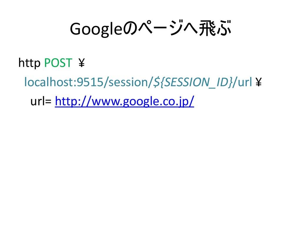 Google http POST ¥ localhost:9515/sessio...